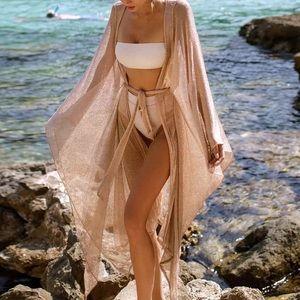Sexy Shimmers Kimono Bikini Coverup Robe With Tie